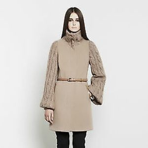 MACKAGE Theola Cable Knit Coat Cashmere Wool NEW